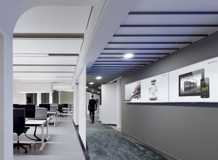 Phoenix Design Studio München, Office, Screen Wall; Interior Design: Ippolito Fleitz Group; Fotograf: Zooey Braun